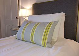 Luxurious soft furnishings in the bedroom at Tregiffian Farm bed and breakfast in Cornwall